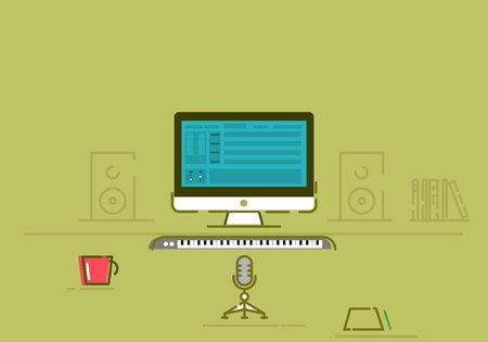 recording studio vector illustration. modern style vector design. logo Imagens - 122701984