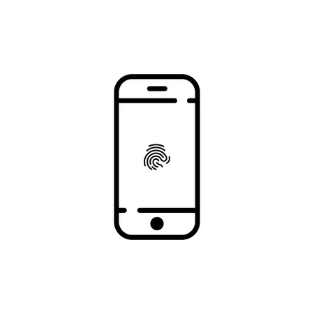 phone icon on screen fingerprint. vector symbol Imagens - 122701986