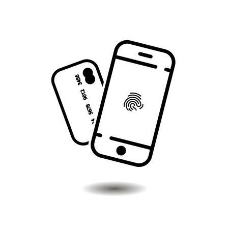 phone icon. fingerprint and credit card. vector symbol