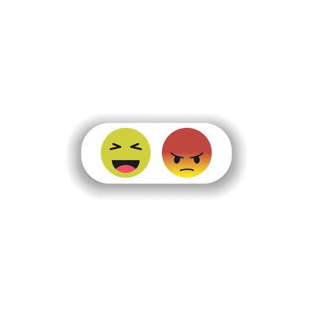 funny and evil smiley. vector symbol, emoticon set