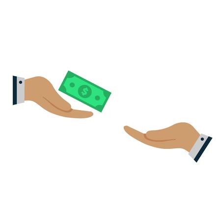 hand sacrifices money. donation concept. vector design