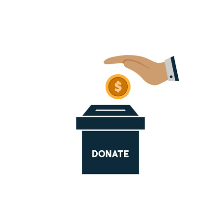 donate money and charity concept hand throws gold coin in a box for donations Illustration