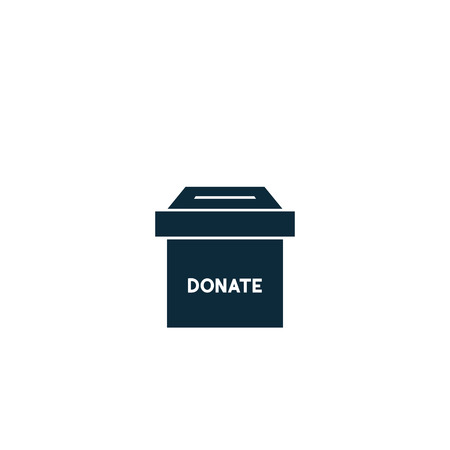 donate box icon. vector symbol on white background Imagens - 123089428