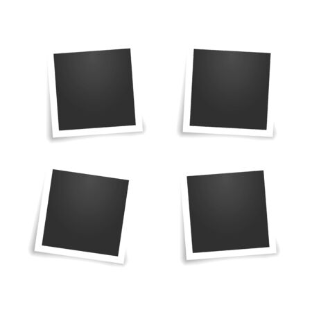 Set of square photo frames with shadow pin on sticky tape  イラスト・ベクター素材