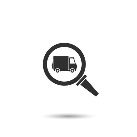 truck in window magnifying glass icon. concept of truck search or delivery service