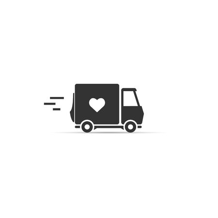 love delivery. truck with a heart icon. vector symbol