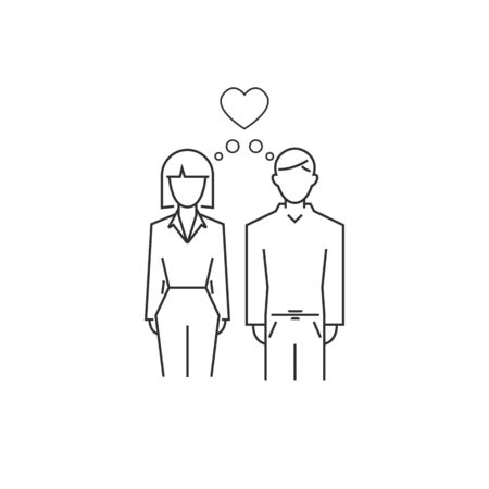 man and woman love outline icon. vector line style modern. vector symbol Ilustração
