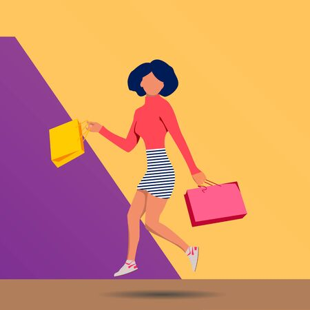 attractive woman, stylish colorful outfit jumping with shopping bags, happy, pink yellow background, striped mini skirt, sale, discount, shopaholic, fashion summer trend, emotional Ilustração