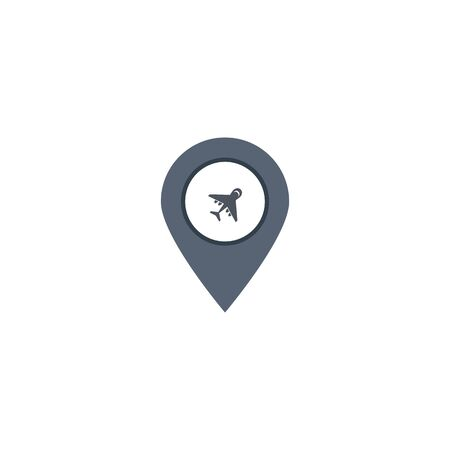 location pin airplane icon. vector symbol EPS10 Çizim