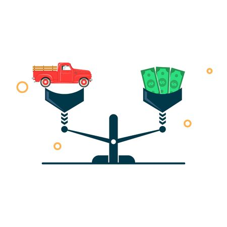 car and money on the scales. car equity and finance concept. vector illustration Illustration