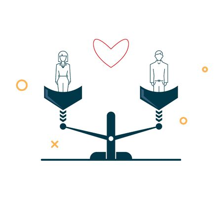 love between a guy and a girl on the scales is equal. vector illustration in a flat style on a white background