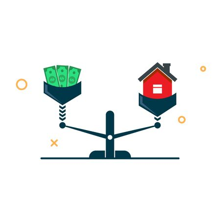 House and money on the scales. a house is more expensive than money concept. vector illustration  イラスト・ベクター素材