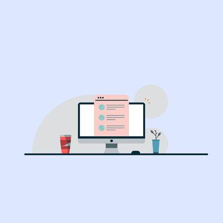 computer vector illustration flat desktop pc showing quiz document icon, checklist or internet test EPS10 Illustration