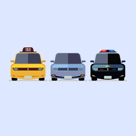 Car police taxi icon modern flat design on whitw background EPS10 Illustration