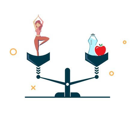 concept of sport and good nutrition. sporty girl and good food on the scales. sports and proper nutrition on the scales are the same. vector illustration Иллюстрация