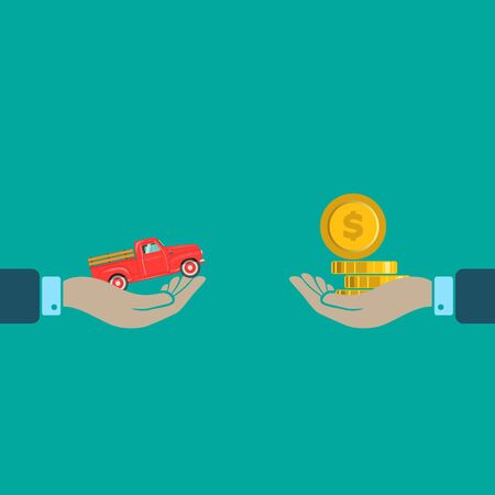 trading Cars and rental cars in flat desing. car broker. vector symbol EPS10