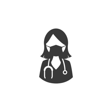 Female doctor icon female doctor with stethoscope around his neck and medical mask on his face. vector medical symbol EPS10 Stock Illustratie