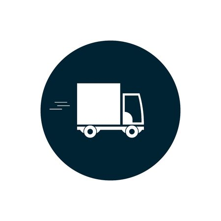 Truck icon on blue baground. delivery car icon. vector symbol EPS10