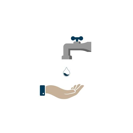Water tap vector icon on white background concept of washing hands. hand hygiene vector symbol EPS10