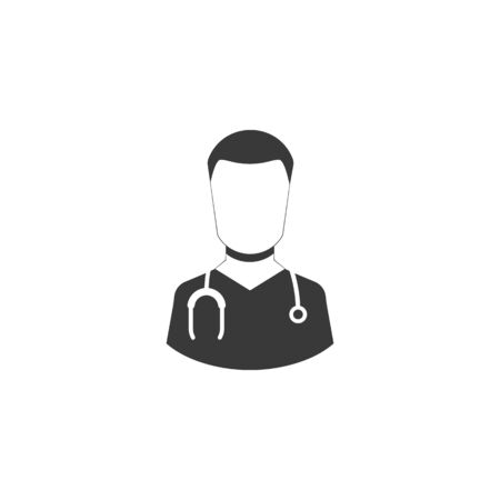 male doctor with stethoscope around his neck. vector medical symbol EPS10