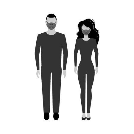Woman and man face in a medical protective mask. Quarantine. covid 2019 coronavirus EPS10