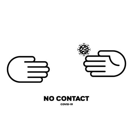 Vector icon prohibits handshake. COVID-19 Coronavirus Prevention Concept EPS10