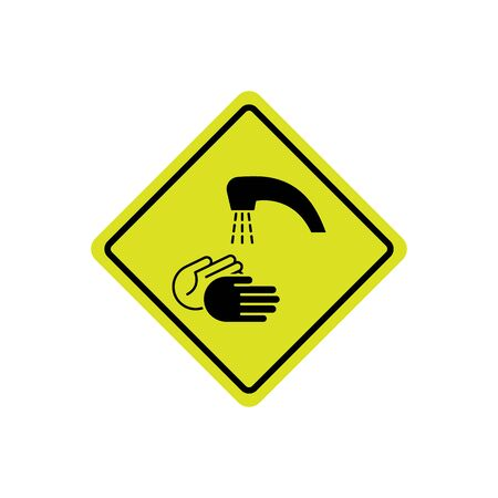wash hands. hand and water drop line icon on yellow background EPS10 Standard-Bild - 143465857