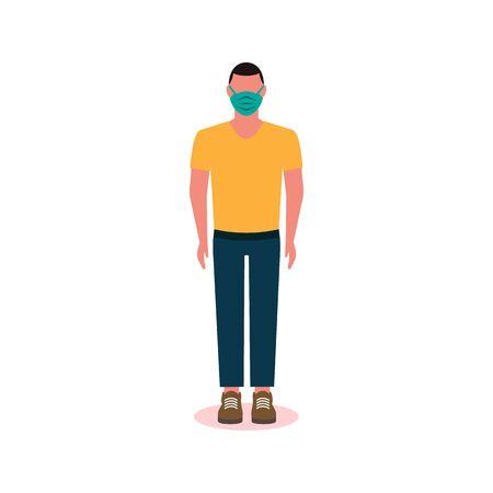 man face in a medical protective mask. Quarantine. covid 2019 coronavirus EPS10