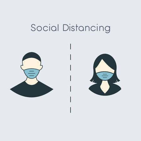 social distance icon, measure protection from spread virus, people isolation from coronavirus, thin outline web symbol on white background. man and woman in medical mask EPS10 Vektorové ilustrace