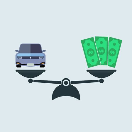 Car and money on scales icon, vector color symbol. Buying sale car simple flat style EPS10
