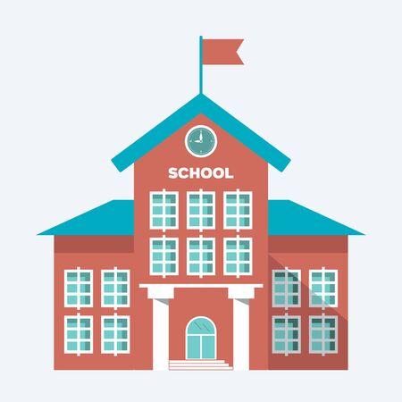 illustration, symbol school building isolated on ligth blue white background. vector flat simple modern symbol EPS10