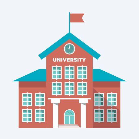 illustration, symbol university building isolated on ligth blue white background. vector flat simple modern symbol EPS10
