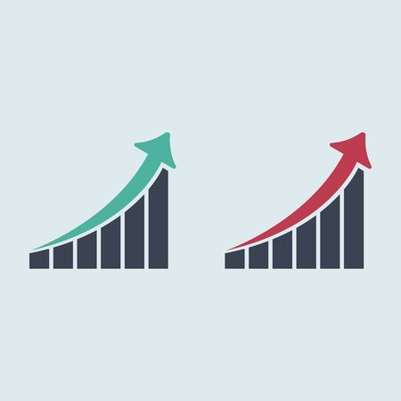 Growing graph icon. graph arrow up. vector flat symbol EPS10