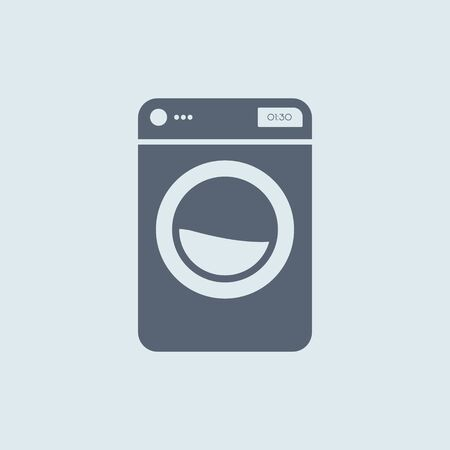 Washing machine icon. vector symbol in flat simple style white color EPS10