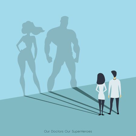 Doctors looking at superhero shadow on the wall. Hospital staff, nurses heroes fight coronavirus pandemic, epidemic, covid-19. our doctors, our superheros. vector illustration EPS10