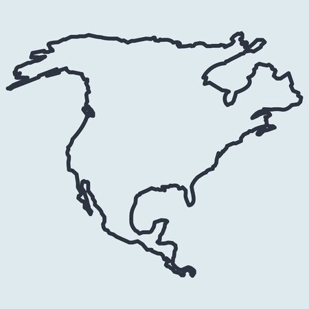 north america map logo line icon. vector simple symbol in flat style EPS10