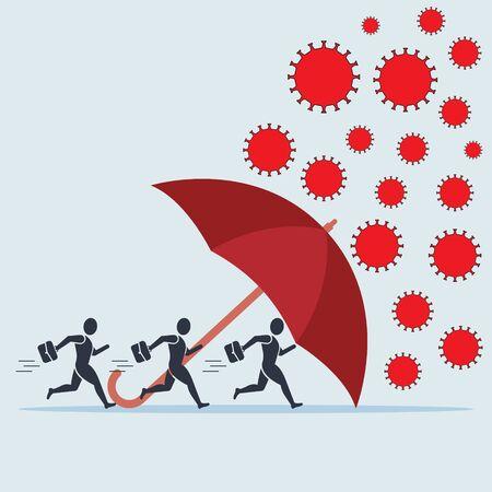 Red umbrella protecting merchants immune novel coronavirus covid-19 pneumonia infection EPS10