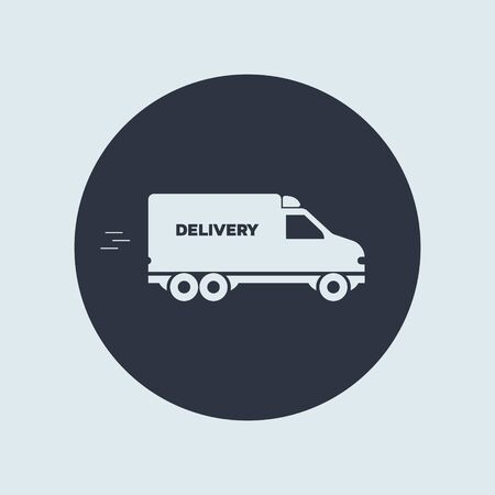 delivery minivan icon. vector simple symbol in flat round style EPS10