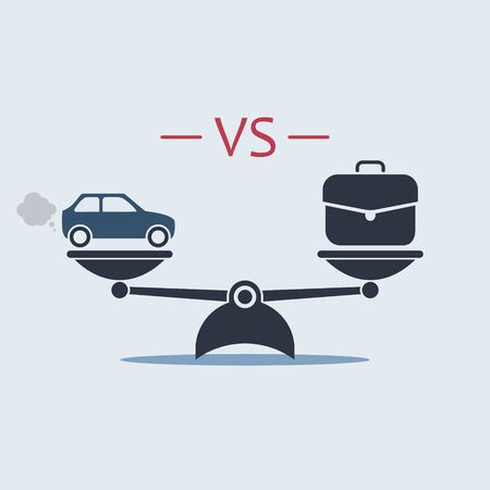 car vs briefcase work on scale icon. vector symbol in flat style EPS10