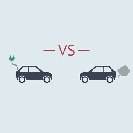 Electric car versus gasoline car. vector symbol in flat simple style Illustration