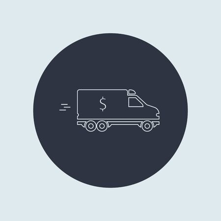 minivan with sign US dollar. bank car icon. vector flat simple line symbol on round background