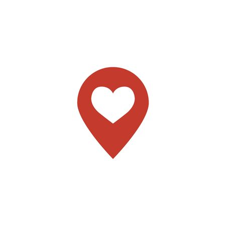Location love icon sign vector illustration. Geo location pin symbol for navigation application or web site design. Locate pictogram.