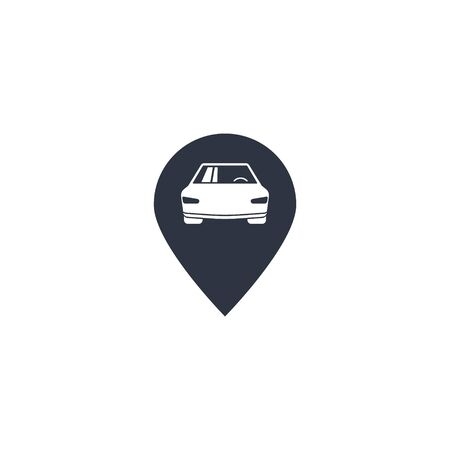 car parking location vector icon. Geo location pin symbol for navigation application or web site design. Locate pictogram Çizim