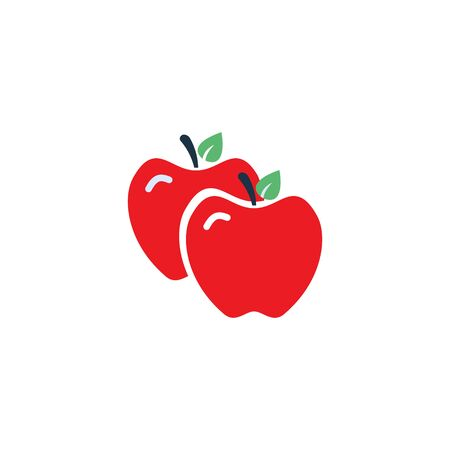 Vector icon apple on white background in flat design