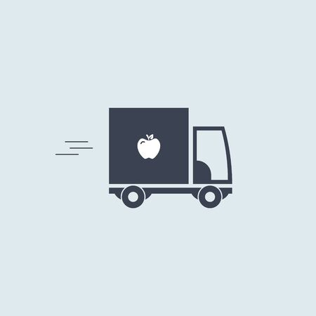 food delivery truck icon. vector symbol in simple flat style