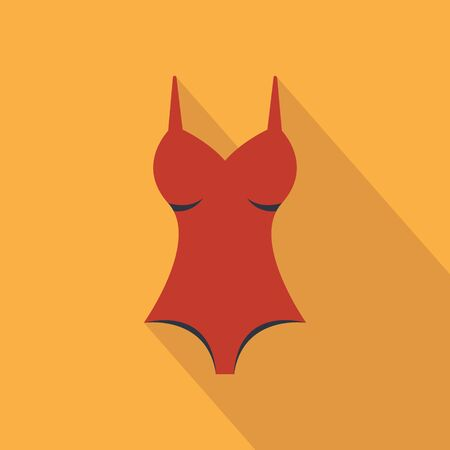 Swimsuit icon. vector flat symbol on warm orange background