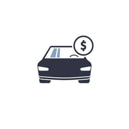Car with coin dollar icon. vector simple flat symbol
