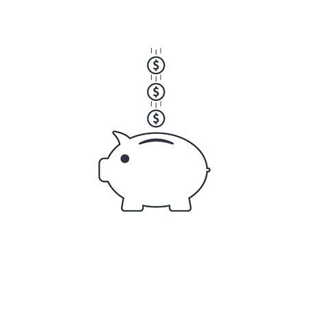 Piggy bank with coin dollar. vector outline symbol EPS10