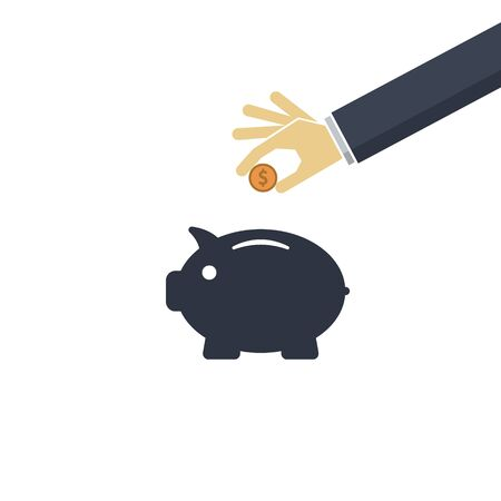 Piggy bank and hand with coin dollar. Vector symbol EPS10