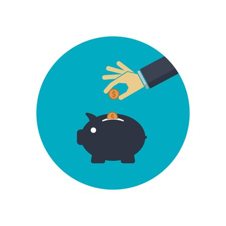 Piggy bank and hand with coin dollar. Vector symbol Illustration